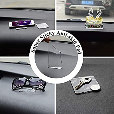 ZC GEL UniversalSticky Pads (10 Pack), Removable and Reusable Non Slip Mat Cell Phone Holder for Car Dashboard Office House Glass Mirrors Anywhere, Clear Anti Slip Pads