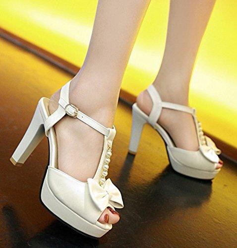 Aisun Womens Trendy Beaded Chunky High Heel Peep Toe Buckled Dressy Ankle T Strap Platform Sandals With Bow White v655Jtmapu