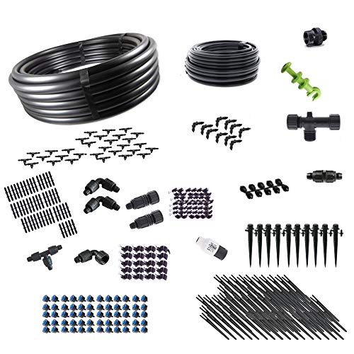 (Drip Irrigation Kit for Container Gardening Premium Size - Water 80 Plants)