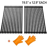"""SHINESTAR 7524 Grill Grates Replacement for Weber Genesis E-330/S-310/S-330(2013&Newer),Porcelain Enameled Steel Grids(19.5"""" x 12.9"""" Each, 2pcs) Replacement Weber 7524/7528-With Gift Grill Gloves"""