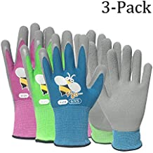 Vgo... Foam Rubber Coated Gardening and Work Gloves for Kids(3 Pairs, 3 Colors, Size for Age 3-5, 6-8)