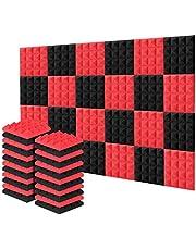 Acolchado Insonorizado, AGPtEK 24 Paquetes de Espuma Insonorizadora 25x25x5CM Paneles de Espuma Acústica Rojo y Negra, Ideales para Grabar en Estudios, Salas de TV, Habitaciones de Niños, Oficinas y Grabaciones de Podcasts