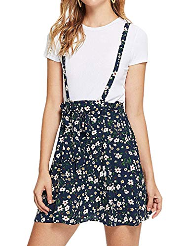 SNRC Women Floral Print Sleeveless Self Tie Waist Crisscross Mini Dress Navy