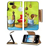 Luxlady Premium Apple iPhone 5 iphone 5S Flip Pu Leather Wallet Case IMAGE 36468500 Kitchen utensils and a cheese cake cooking concept
