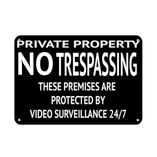 Holders Plaque Address - Private Property No Trespassing 24/7 Video Surveillance Aluminum Metal Sign 24 in x 18 in Custom Warning & Saftey Sign Pre-drilled Holes for Easy mounting