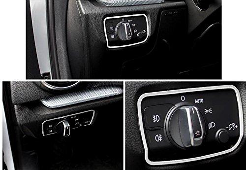 Acier inoxydable Int/érieur Head Light Switch Button Cover Trim 1/pcs