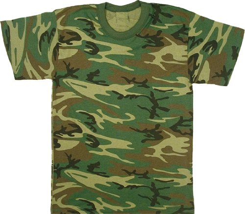 - Woodland Camouflage Military T-Shirt (Polyester/Cott on) USA Made Size Medium