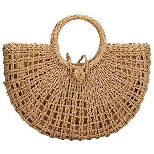 Woven Straw Bags Natural Chic Round Straw Large Hobo Bag Round Handle Ring Tote Retro Summer Beach Rattan bag (Khaki)