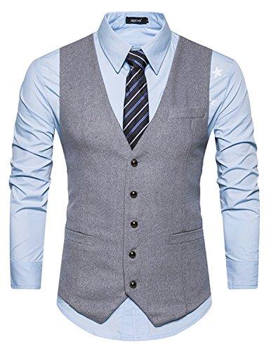 Slim Gilet Business Leisure Mariage Chemise Élégant Fit Homme Manches Sttlzmc Sans sans Gris Veste 1 Costume YwvxOq