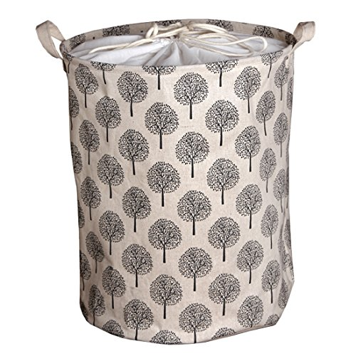 Andux Cotton Fabric Collapsible Laundry Basket Dirty Clothes Hamper-ZYL-01 (Black Tree)