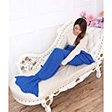 Whoishe Mermaid Tail Blanket Knitting Crochet Acrylic Fibers Mermaid Blanket for Adult Women Girls All Seasons Couch Sofa Throw Blanket Romantic Saint Valentine's Day Gift
