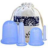 Facial Cupping Set 4 Silicone Cups for Body Massage Cellulite Cup Therapy