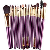 WuyiMC 15 PCS Cosmetic Brushes Synthetic Foundation Powder Concealers Eye Shadows Makeup Brush Sets (Purple 1)