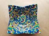 Tie Dye Dog Bone Paw Print Microwave Bowl Cozy Hippie Puppy Reversible Microwaveable Potholder Bowl Buddy BoHo Bohemian Puppy Kitchen Linens Handmade Housewarming Hostess Gifts Under 10