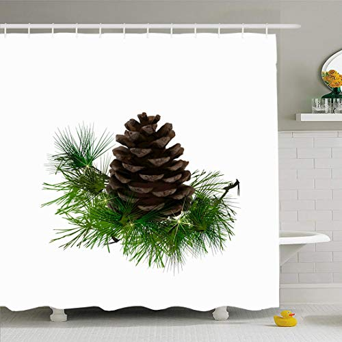Ahawoso Shower Curtain for Bathroom 72x72 Brown Pinecone Pine Cone Needles Nature Green Branch Shrub Christmas Closeup Conifer Cultivated Glow Waterproof Polyester Fabric Bath Decor Set with Hooks (Pine Cone Fabric Shower Curtain)