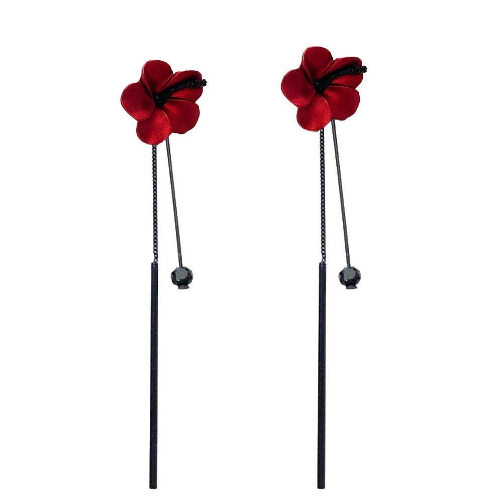 Everrikle Earrings,Fashion Women Flower Long Tassel Chain Pendant Drop Dangle Stud Earrings Jewelry