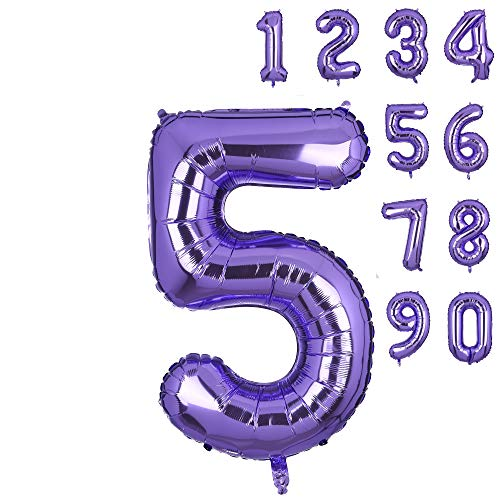 40 Inch Number 5 Balloons Big Purple Number Helium Foil Birthday Party Decorations Digit Balloons Mermaid Theme