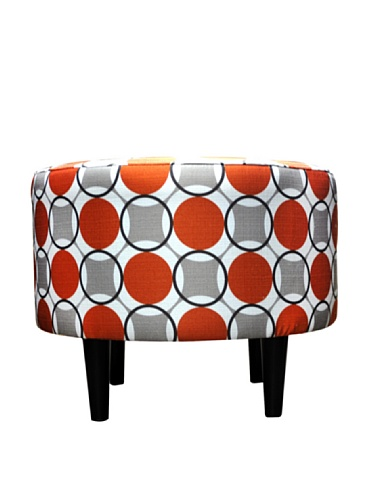 Sole Designs Abstract Halo Series Sophia Collection Round Upholstered Ottoman with Espresso Leg Finish, Orange/Grey Finish