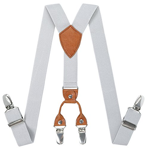 Toddlers Boys Mens Adjustable Suspenders - Y Back Heavy Duty Suspenders for School Uniforms Tuxedos (23.6 Inch (7 Months - 3 Years), Light grey)