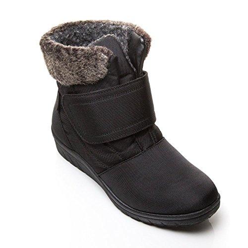 La tex Mode Dames Noir Snug 3 Neige Coussin Bottes Marche De Taille Doubl Fourrure Bottines Femmes Warm 8 Thermo qxOt1z6