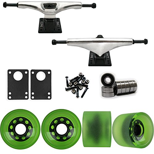 UPC 780848462832, Core 7.0 Raw Longboard Trucks Wheels Package 70mm Sliding Wheels Green