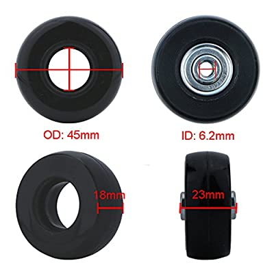 Super Ma 2 Set of Luggage Suitcase Replacement Wheels with Bearings & Tools (45x23 mm) : Sports & Outdoors
