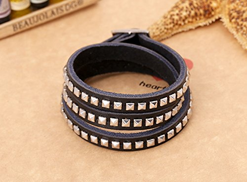 MultinStrand Three Circle Square Alloy Rivet Rock Mysterious Black Leather Punk Bracelet (Jesus Costume Diy)
