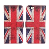 Retro Vintage UK United Kingdom Union Jack Flag Folio Stand Wallet Leather Case Cover With Credit Card / ID Slots for Apple iPhone 6 (4.7 inch)