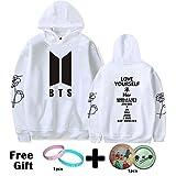 Kpop BTS Love Yourself New Logo Her Sweatshirt Jimin Jungkook Suga V Sweater Hoodie (White (Black Logo), M)