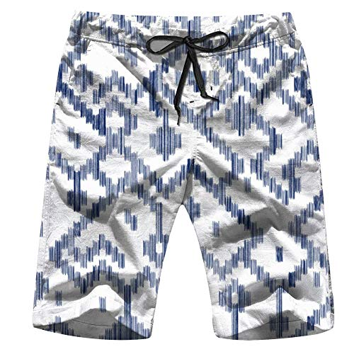 Ethnic Geometric Ikat Worn Out Mens Beach Pants 3D Printed Casual Fashion Adjustable Beach Board Shorts XXL
