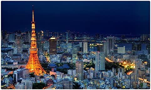 Casas Japón Tokio Noche desde arriba de la torre Eiffel Megapolis ciudades sitios de viajes postal Post tarjeta: Amazon.es: Oficina y papelería
