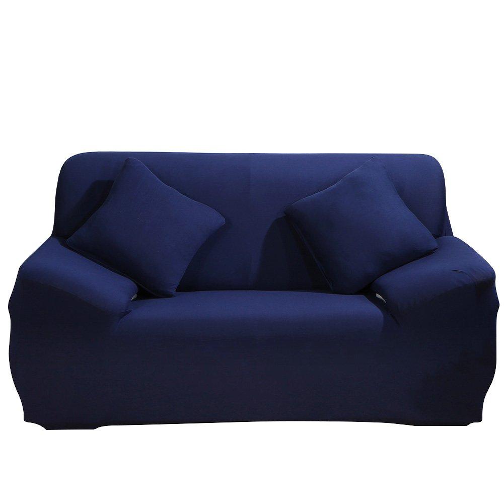 Copri divano o poltrona elastico per divani con braccioli, telo di protezione in poliestere e spandex, con federa per cuscino baby o per animale domestico, blu MIFXIN
