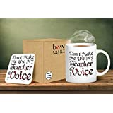 Dont Make Me Use My Teacher Voice Mug And Matching Coaster Set by BWW Print Ltd