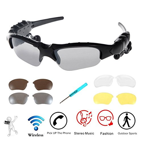 Wireless Sunglasses,WONFAST Bluetooth Sunglasses Music Handfree Headset Headphones for iPhone X/8/7/8 plus Samsung Bluetooth devices + Free Replaceable 3 Pair Lens (Yellow,Brown,Clear) - Bluetooth ?? ??????? Sunglasses ??????????