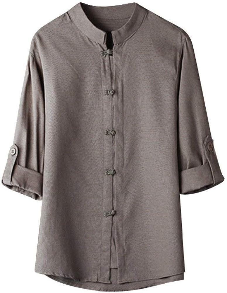 Blusa De Lino para Hombre Camisa De Kung Fu De Ropa de Fiesta Estilo Chino Clásico Tops Traje Tang 3 Blusa De Lino De 4 Mangas (Color : Grau, Size : Cn-M):
