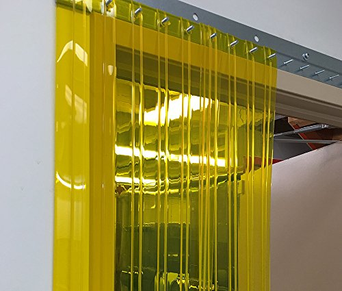 Strip-Curtains.com: Strip Door Curtain - 48 in. (4 ft) width X 96 in. (8 ft) height - Anti Insect Yellow Ribbed 8 in. strips with 50% overlap - common door kit (Hardware included) by Strip-Curtains.com