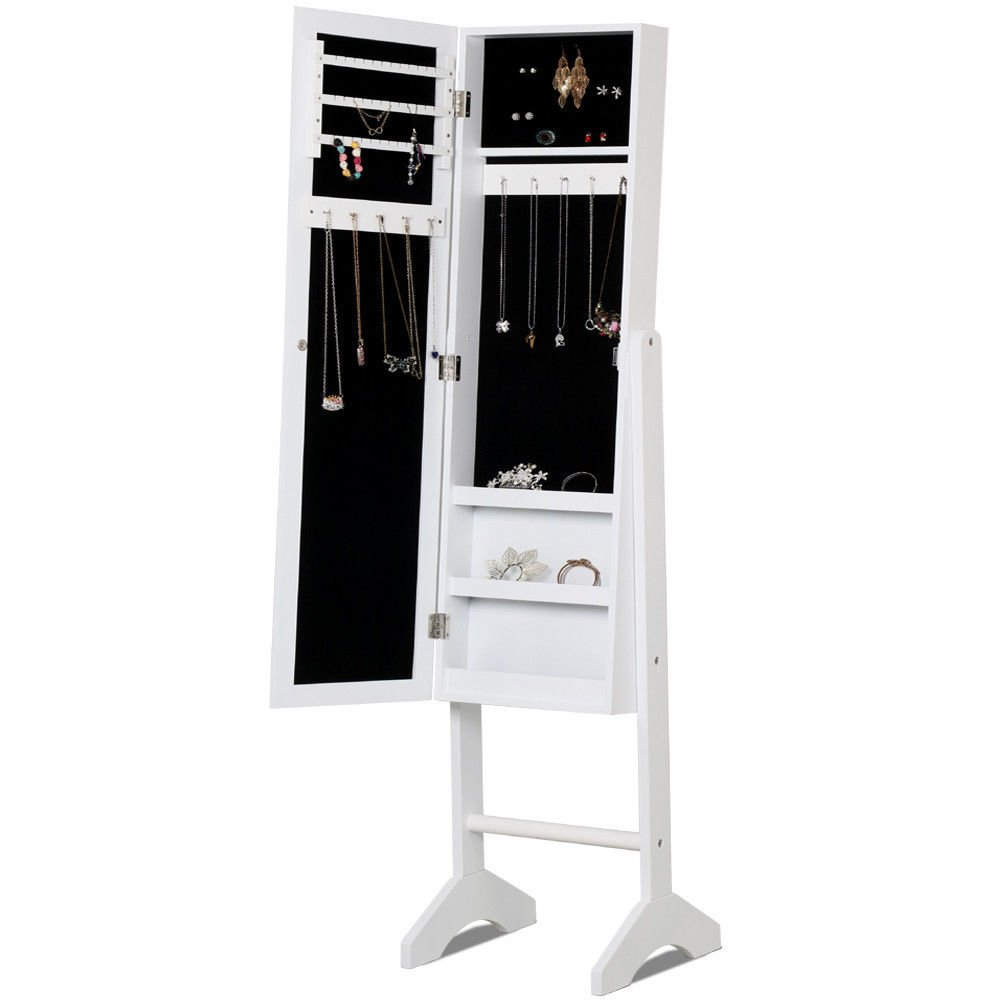 New White Mirror Jewelry Cabinet Armoire W/ Stand Mirror Rings, Necklaces, Bracelets
