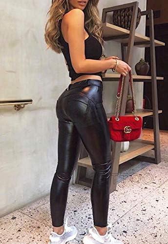 FITTOO PU Leggins Cuero Pantalón Mujeres Elásticos Pantalones para Mujer 8