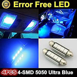 partsam 4x blue 4smd error free led car interior lights bulbs 12v 4 5050 smd automotive. Black Bedroom Furniture Sets. Home Design Ideas