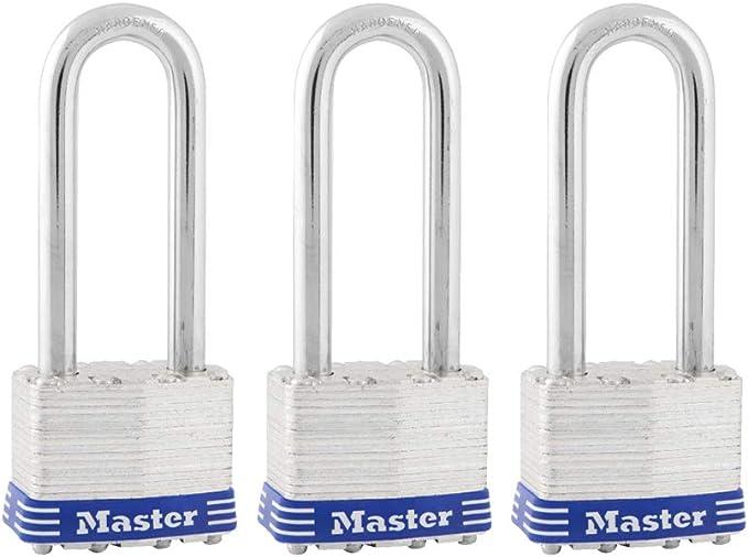 Master Lock 8127TRI Pack de 3 Assortiment Couleur 6 ft environ 1.83 m X 5//16in Keyed verrous de câble NEUF