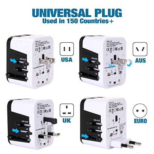 Zoppen International Travel Plug Adapter 4 USB Universal Outlets US/Euro/ UK/IT/ FR/AU/ JP/CN for iPhone iPad Tablet Laptop, Built with Smart IC and Surge Protect by Zoppen (Image #1)
