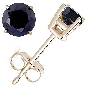 1/2 CT Black Diamond Stud Earrings 14k Yellow Gold