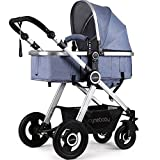 Newborn Baby Stroller Pram Stroller Folding Convertible Carriage Luxury Bassinet Seat Infant Pushchair with Foot Muff(Blue)