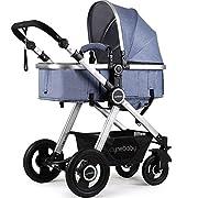 Newborn Baby Stroller Pram Stroller Folding Convertible Carriage Luxury Bassinet Seat Infant Pushchair with Foot Muff (Blue)