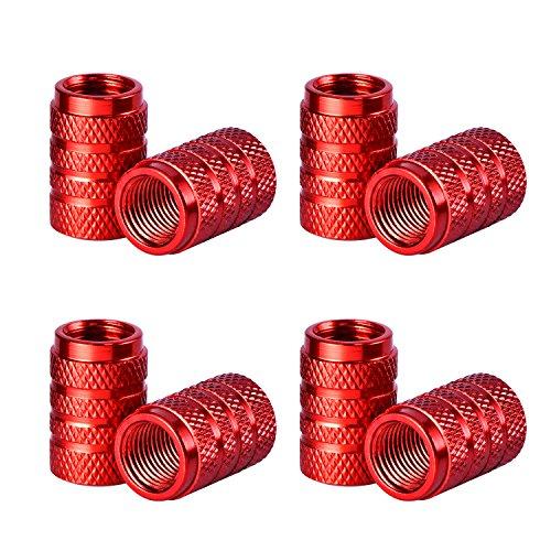 eBoot Tire Stem Valve Caps Aluminium Car Dustproof Caps Tire Wheel Stem Air Valve Caps, 8 Pieces (Red)