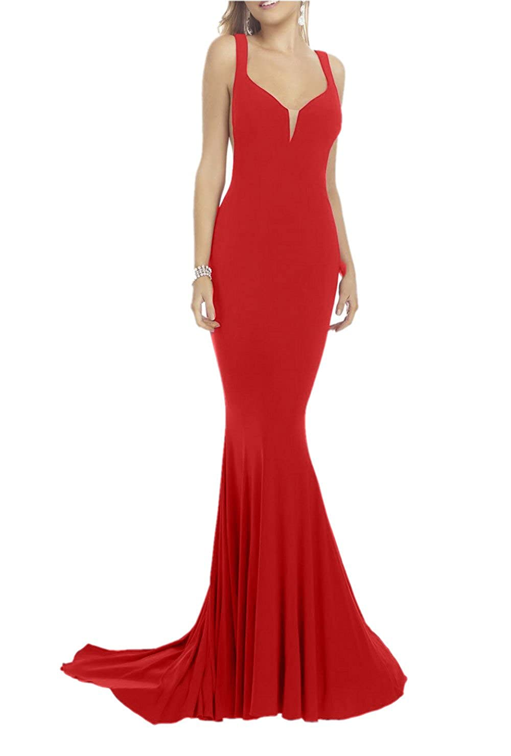 Promworld Womens V-neckline Formal Evening Gowns Low Back Mermaid Prom Dress: Amazon.co.uk: Clothing