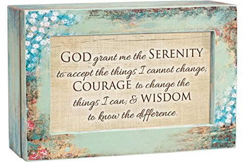 Cottage Garden God Grant Me Serenity Prayer Distressed Wood Jewelry Music Box Plays Tune We Have a Friend in Jesus