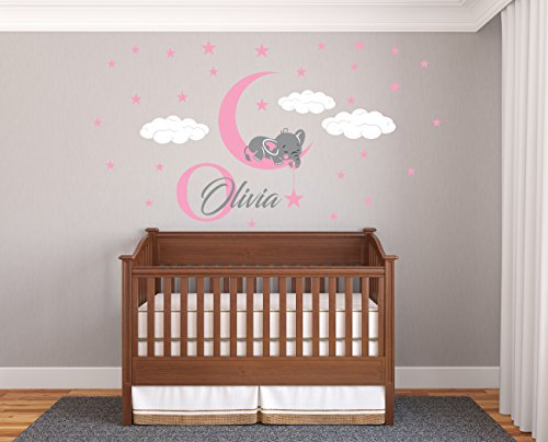 Custom Name & Initial Elephant Stars And Clouds - Prime Series - Baby Girl - Nursery Wall Decal For Baby Room Decorations - Mural Wall Decal Sticker For Home Children's Bedroom (Wide 44