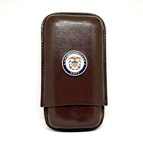 (Genuine Leather US Navy Cigar Case 3-Finger with 3 Cigar Holders - Pocket-Sized Cigar Case for Travel, Gifts for Men by Cigar Cutters by Jim)