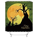 Halloween Night Theme Horror Dead Wood Tree Strange Black Cat Month Shower Curtain Polyester Fabric Mildew Proof Waterproof Cloth Shower Room Decor Shower Curtains(72Wx72L)